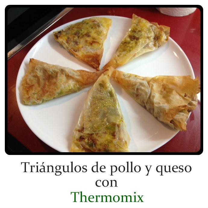 Triángulos de Pollo y Queso con Thermomix® .