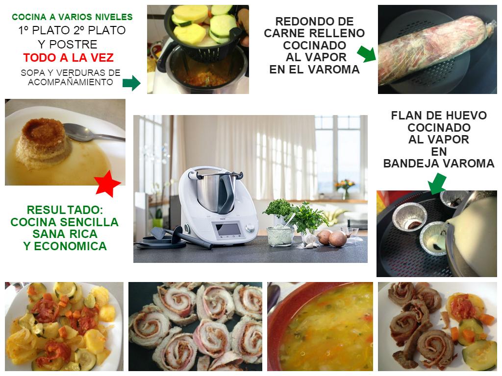 Todo a la vez: Sopa, carne con verduras, y flan de huevo con Thermomix®