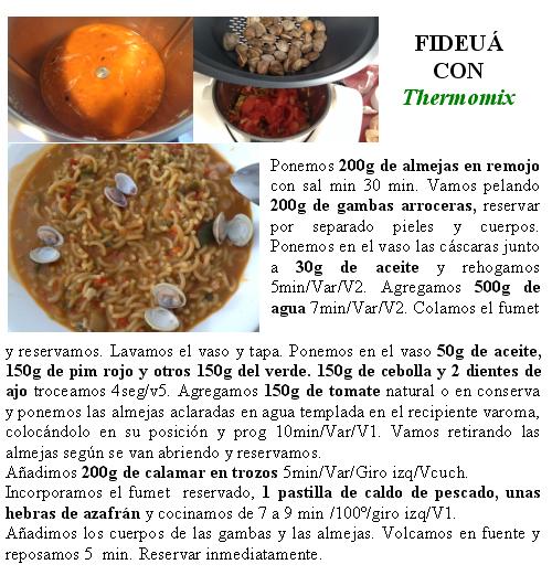 FIDEUÁ CON CALAMARES, GAMBAS Y ALMEJAS CON Thermomix®
