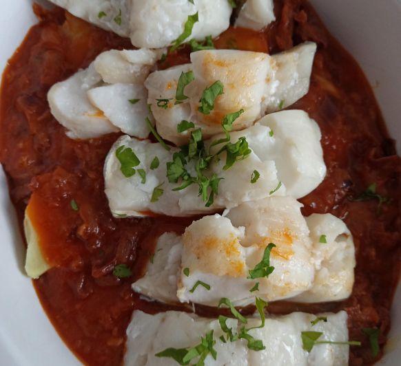 Receta de bacalao en salsa vizcaína hecho en Thermomix®