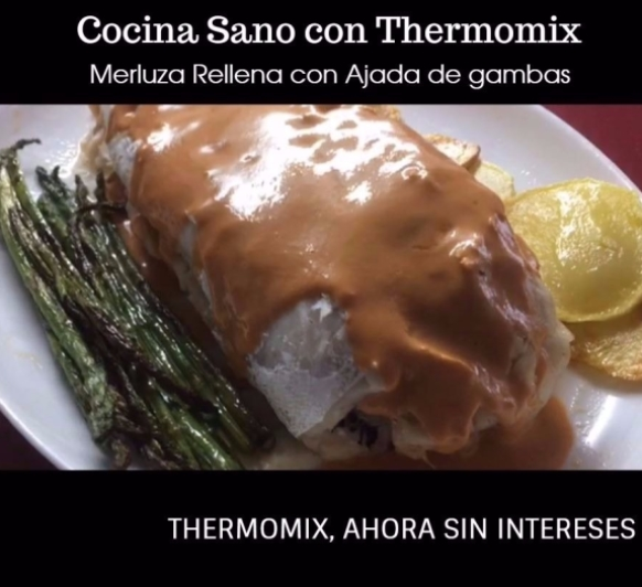 Merluza Rellena con Ajada de Gambas con Thermomix® . Cocina Guiada. Cook-key 49€. Thermomix® sin intereses