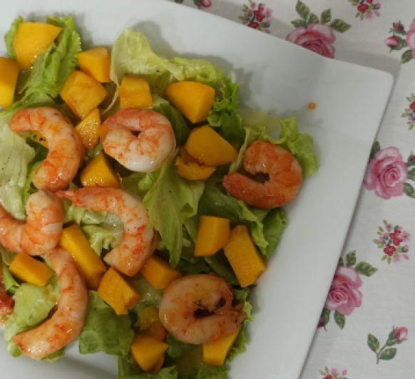 Ensalada de langostinos y melocotón con vinagreta de limón, en modo Al Vacío con Thermomix® TM6