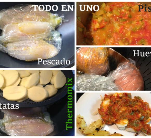 Pisto y pescado en papillote con Patatas y Huevos Duros con Thermomix®